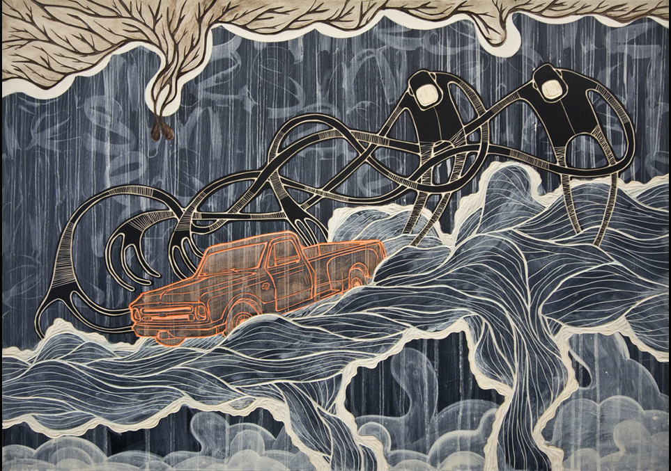 Alex Diamond Woodcut Print