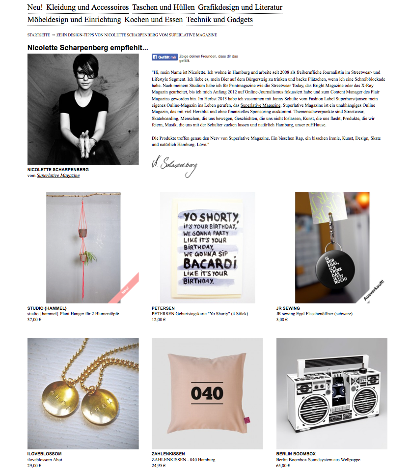 Superlative Magazine auf selekkt.com