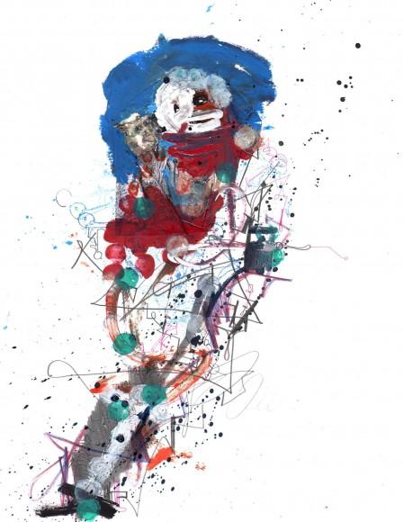 Michael Alan - Original sin, ink, oil, pencil, pen on paper